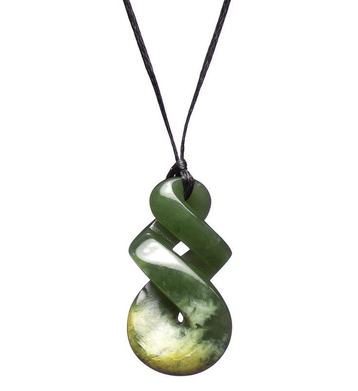 NZ Greenstone Double Twist/Pikorua Necklace : Mountain Jade New Zealand
