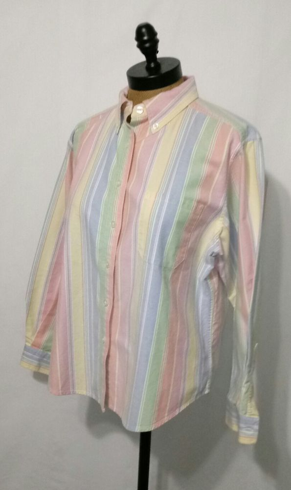 LL Bean Spring Pastel Striped Long Sleeve Oxford Shirt ~ Women's Size Petite L #LLBean #ButtonDownShirt
