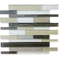 Bestview 12 x 12 Silver Lagoon Stone and Glass Mosaic Wall Tile