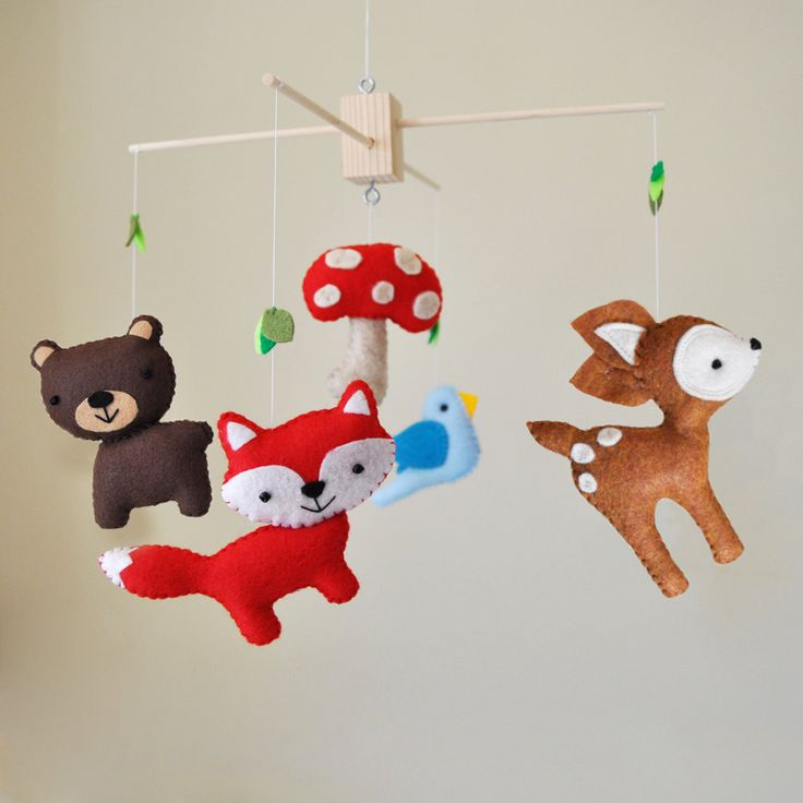 Customized Hanging Woodland Mobile - CHOOSE YOUR ANIMALS - Deer, Bear, Squirrel, Porcupine, Owl, Bird, Fox, Raccoon, Tree, and Mushroom. $88.00, via Etsy.