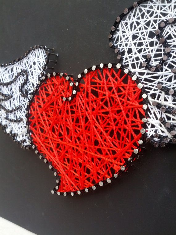 Handmade String Art Sign Vintage Heart With Wings by Derannoula