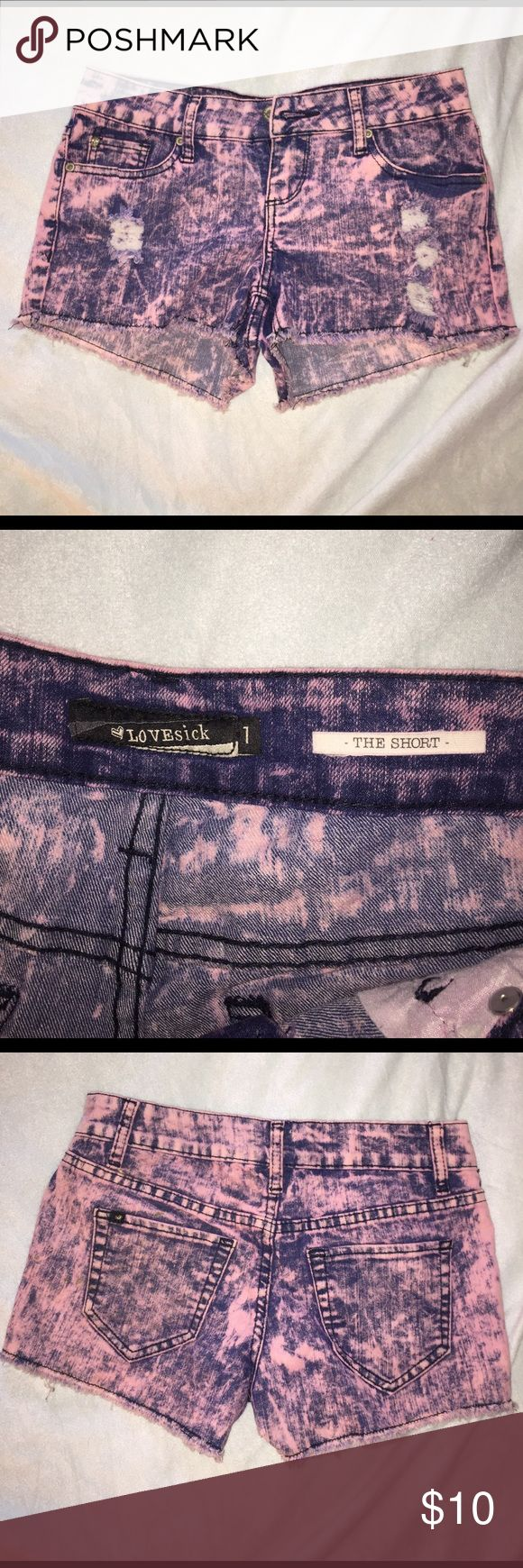 Distressed acid wash shorts Pink and blue pair of cute distressed acid wash shorts from hot topic. Only worn like twice they are in perfect condition! Hot Topic Shorts Jean Shorts