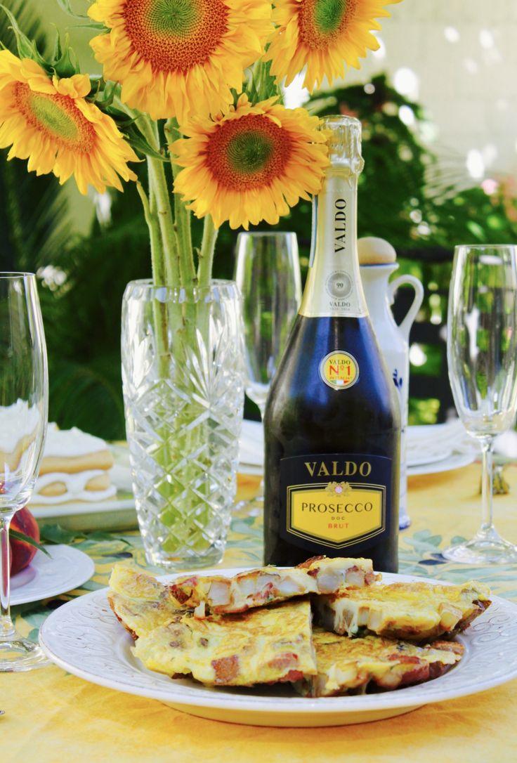 Valdo Prosecco on a table for Italian brunch