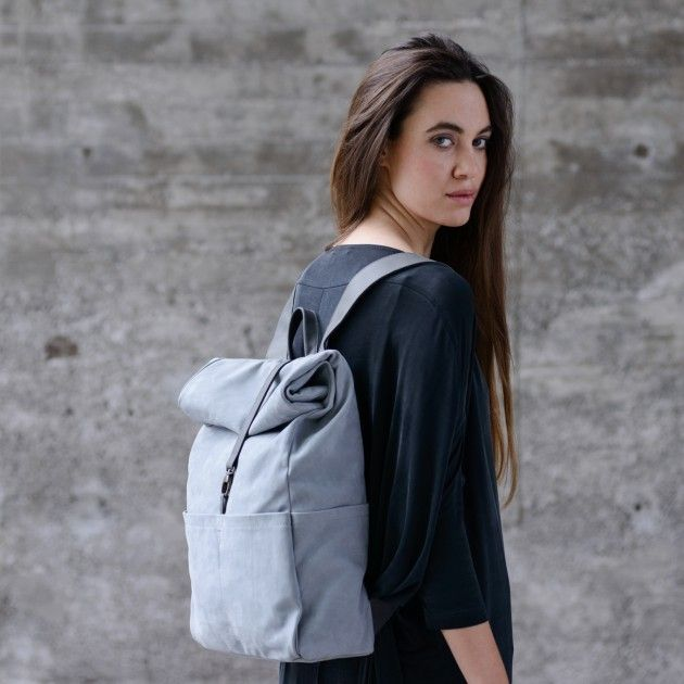 Roll Top Leather Backpack ~ in leather oyster & stone | Vanook
