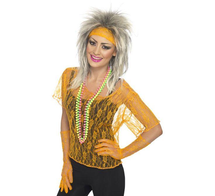 #Disfraz o Kit #Pop #Años80 Naranja. Ideal y de Alta Calidad para combinar con nuestros disfraces y accesorios de los años 80, #Divas, cantantes o estrellas del Pop, #Rock y #Punk. #disfrazzes #disfraces