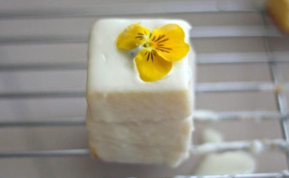 Easy Lemon Petit Fours, instead of a flower garnish i would grade ...