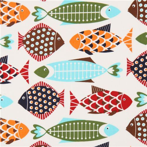 white Timeless Treasures animal fabric with colourful fish