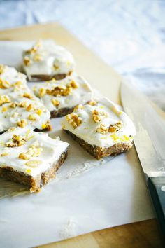 Carrot cake slice with tangy citrus frosting. #raw #vegan