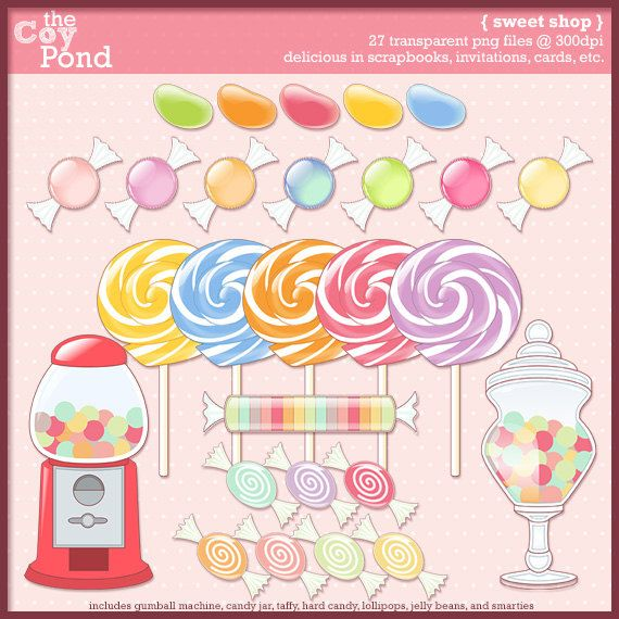 INSTANT DOWNLOAD Sweet Shop Clip Art Clipart Jelly Beans Candy Lollipop
