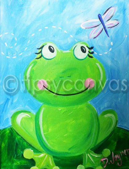 sweet frog for spring canvas painting