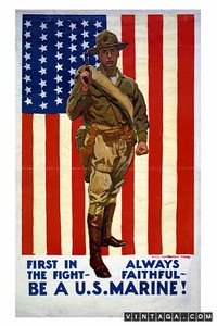 Marine Recruitment Poster WW ll.  MC:  This is a WW I poster - note the pattern of the stars on the flag