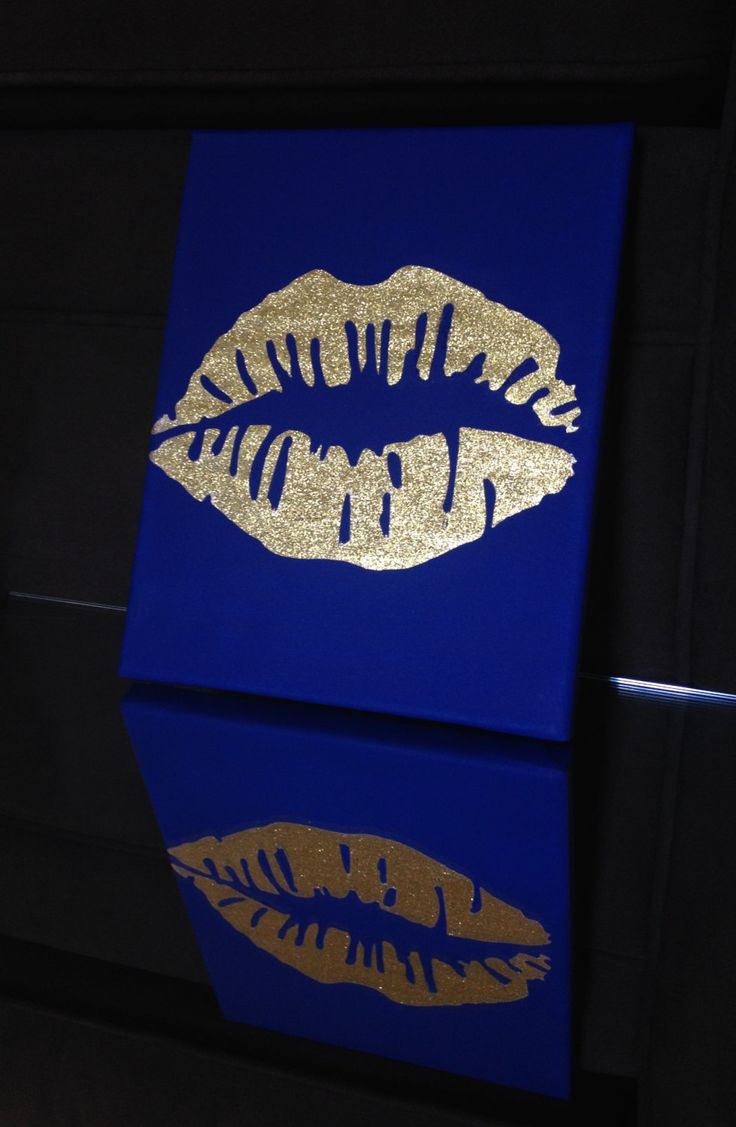 Gold Glitter Lips Kiss Print Acrylic Canvas Art Painting Hand Painted by CustomMonogramDesign on etsy www.etsy.com/shop/CustomMonogramDesign