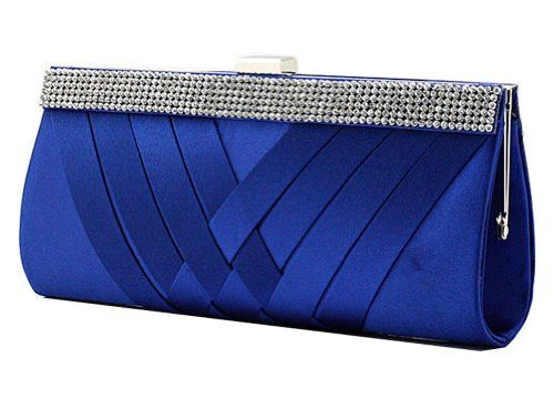 Chicastic Satin Pleated Hard Clutch Bag with Rhinestone Setting - Royal Blue