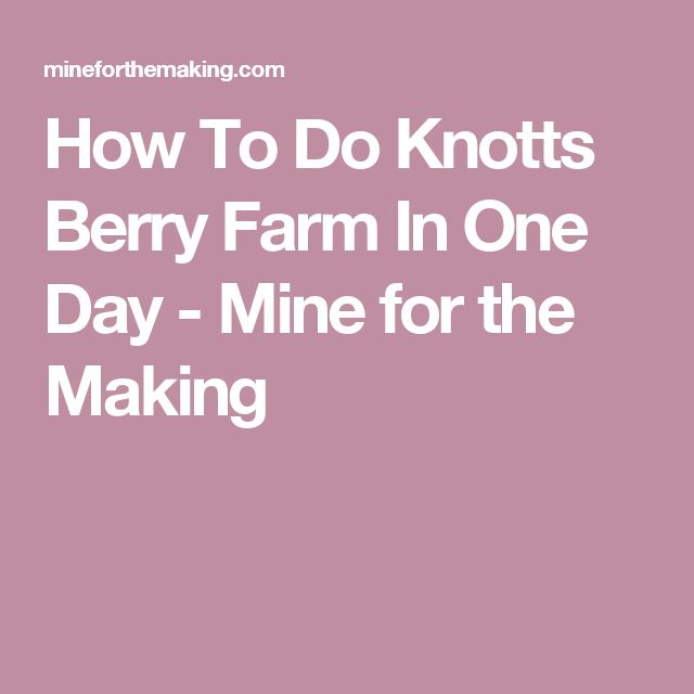 How To Do Knotts Berry Farm In One Day - Mine for the Making