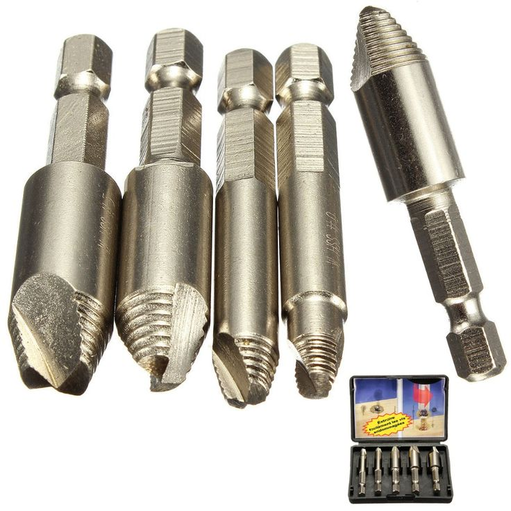 5Pcs/set Screw Stud Bolt Easy Extractor Drill Bit 1/4 Hex Shank //Price: $10.74 & FREE Shipping //     #wood drills  #CARVING CHISEL  #Double Feather   #Board Router   #Drill Chuck Screwdriver   #Drill Bit