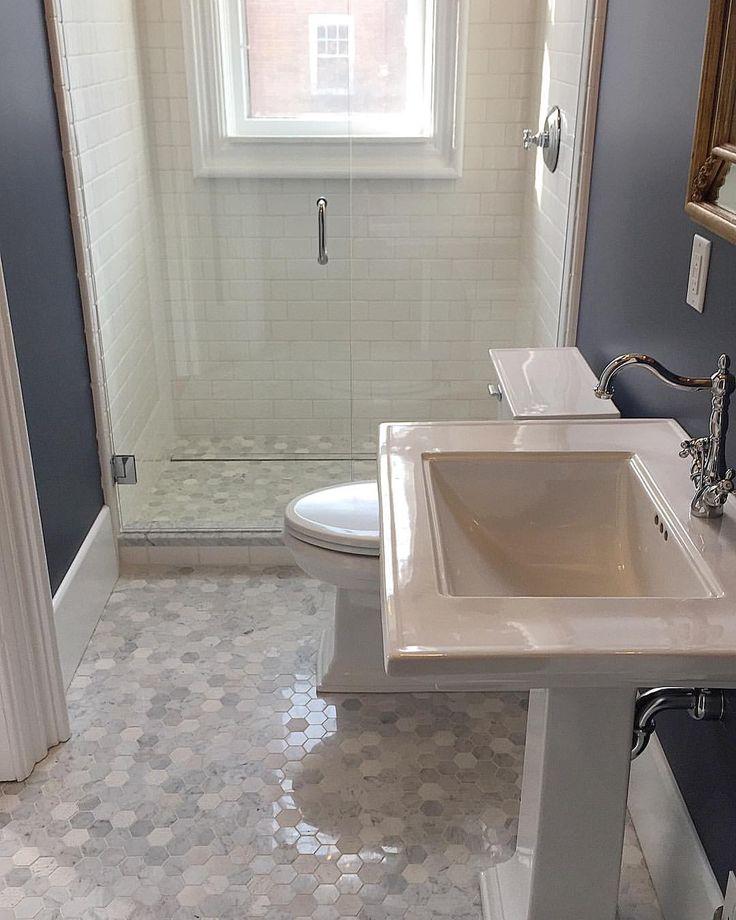 Sherwin Williams Indigo Batik With Marble Tile And Kohler Sink And Toilet.  WaschbeckenGästebäderBadezimmerideenMarmorfliesenHausprojekte