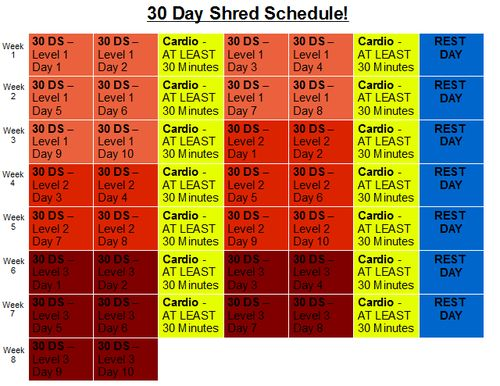 My dad agreed to do the 30 Day Shred with me, so I made a schedule for us! This is how Jillian Michaels suggests doing it, so Im going to try it out. Were starting on a Friday, though, so the first column is Friday :P