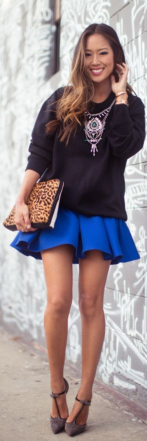 I like the skirt (color and style) and the shoes (style)
