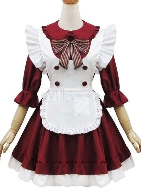 Two-Tone Bow Chic Lolita Cotton Maid Costume Halloween