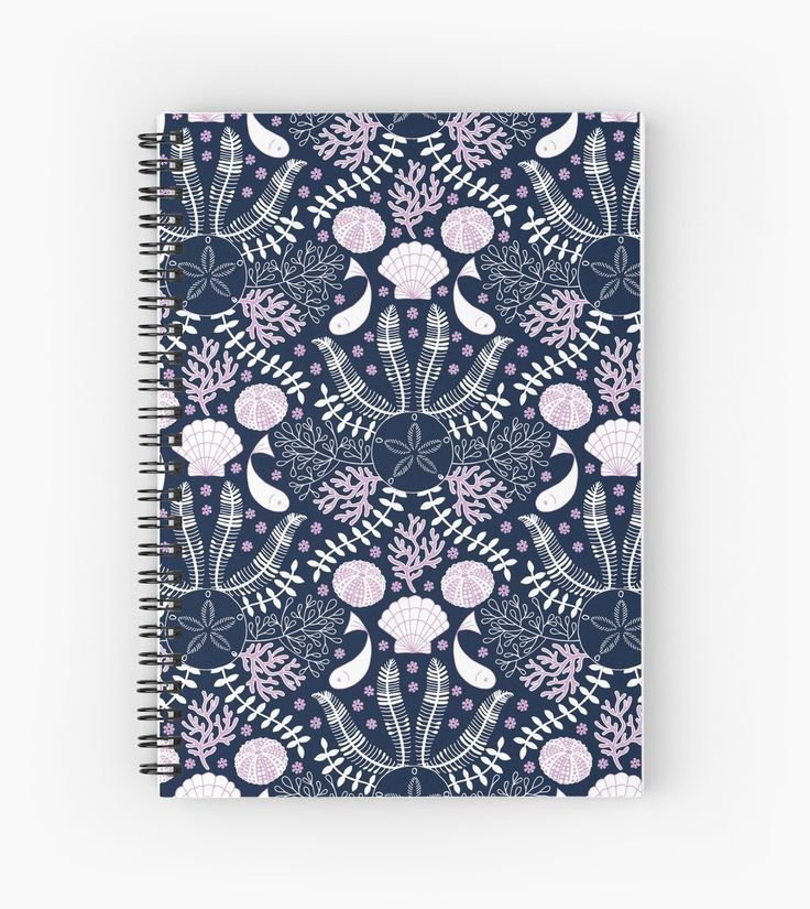 #Bouquet #Floral #Sea #Fish #Navy #Mia #Blue #Shell #Urchin #Algae #Summer #Summer-vibes #redbubble #notebook