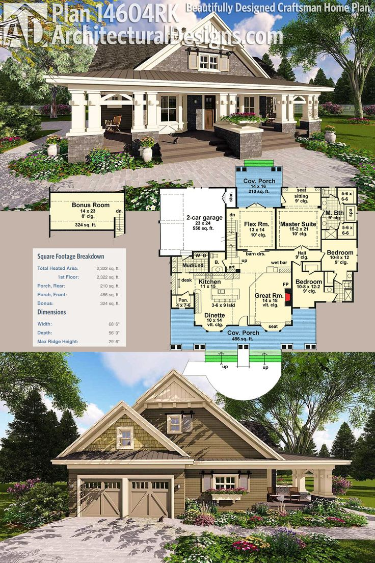 Architectural Designs Craftsman House Plan 14604RK has