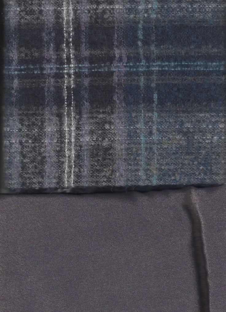 BAG Foiled silk tissue & wool tweed, 2.80 m x 115 cm & 1.20 m x 150 cm, blues & lilacs