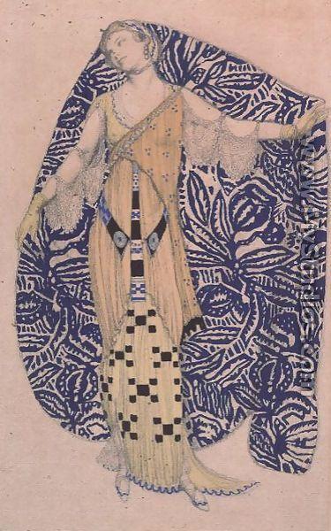 lunar-danse:        Leon Bakst      Modern Dress, Dione, 1910  (jaded mandarin)