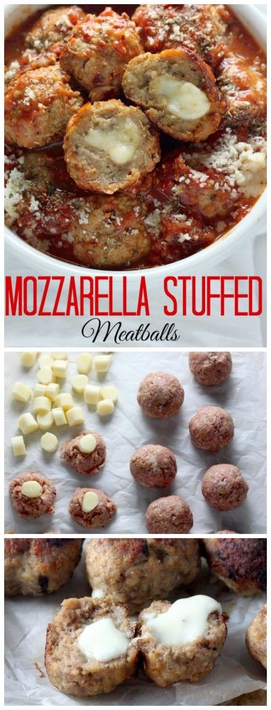 30-Minute Mozzarella Stuffed Turkey Meatballs with Homemade Marinara Sauce - sure to be a new favorite recipe!!!