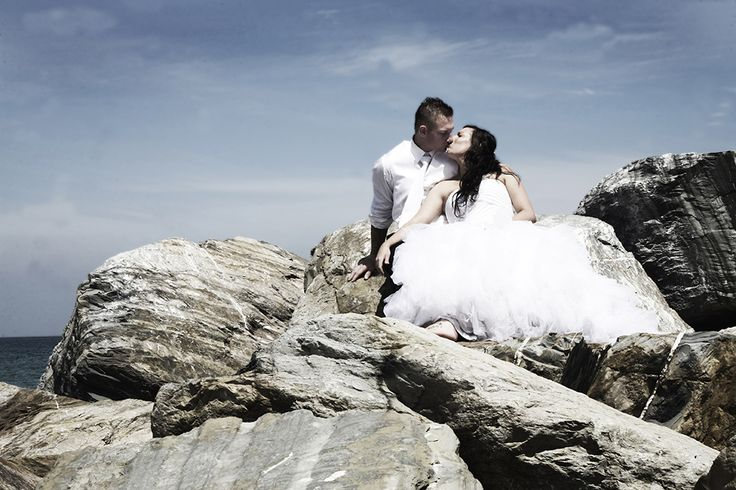 My beautiful sister and her new husband. This was a Trash the Dress session at Glenelg