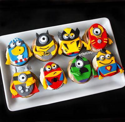 despicable me minions superhero theme cupcakes
