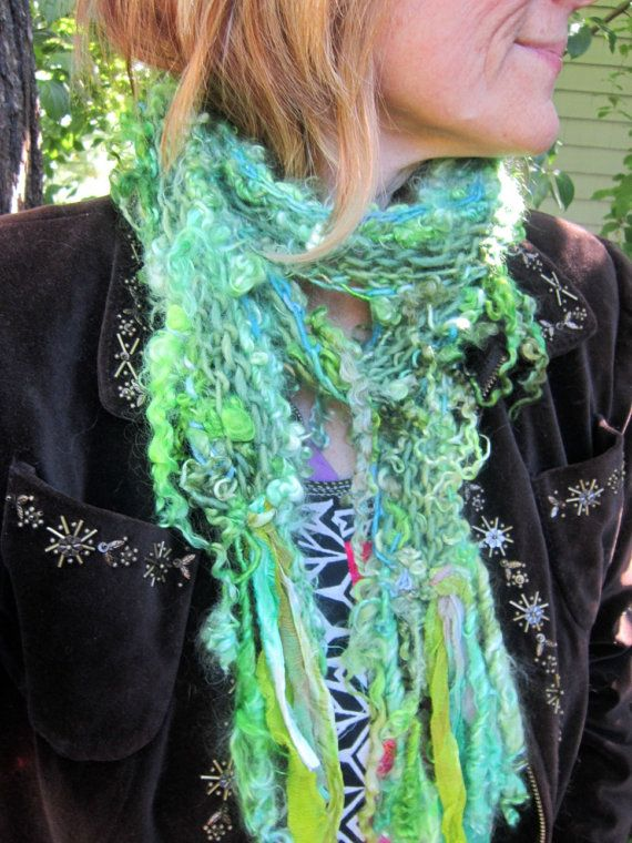 soft+and+rustic+handknit+scarf+of+curls++green+by+beautifulplace,+$67.00 Inspiration for handspun yarn