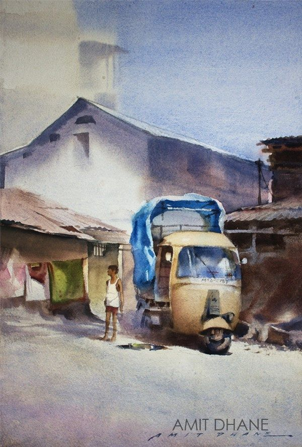 amit dhane  on the spot  Watercolour on paper