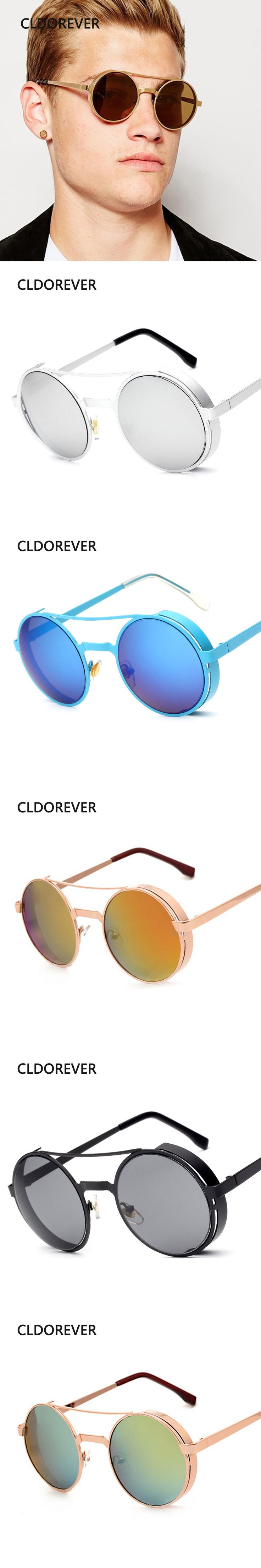 New 2017 Vintage Steampunk Sunglasses Metal Colorful Round Sunglasses Brand Designer Sun Glasses For Women Men Lentes De Sol