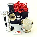 Mens Shaving kit with Brush and Double edge razor set  razor brush stand and safety razor stand brush and soap shaving set Shaving kits brush bowl and razor for thick beard Head shave razor Razor for Sensitive Skin Reviews