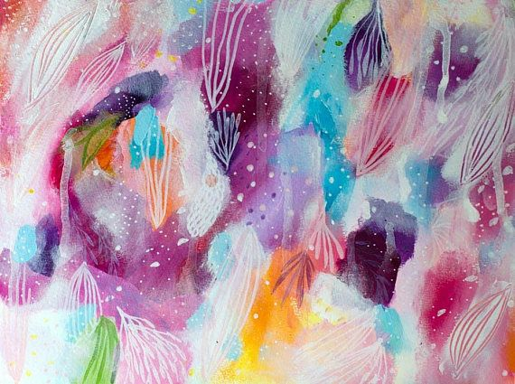 All Your Colors  Original Painting  Abstract Art   Floral Wall Art Girly Decor Inspirational Intuitive
