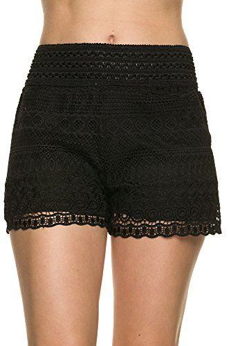 Bellarize Women's Crochet Shorts with Wavy Edge and Inner Lining Black Large