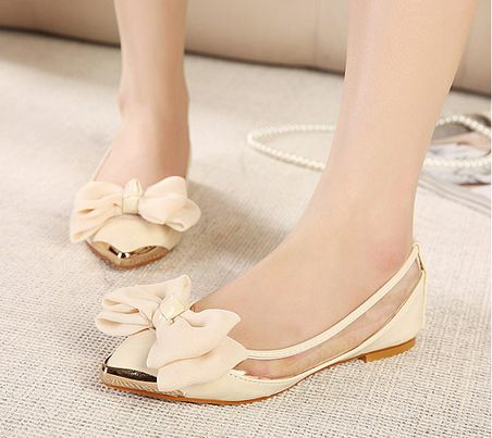 New womens flats shoes 2014 pointed toe summer dress pink apricot