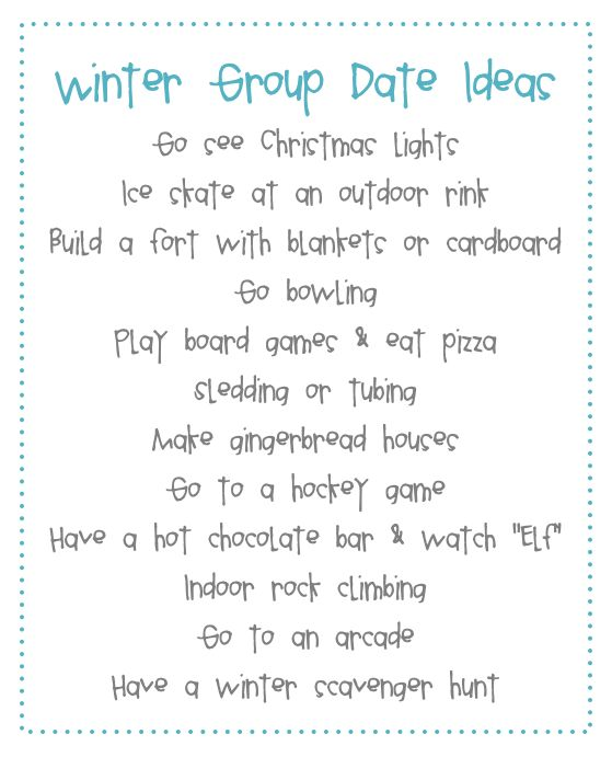 Stand & Shine Magazine: Favorite Things Friday: Winter Group Date Ideas