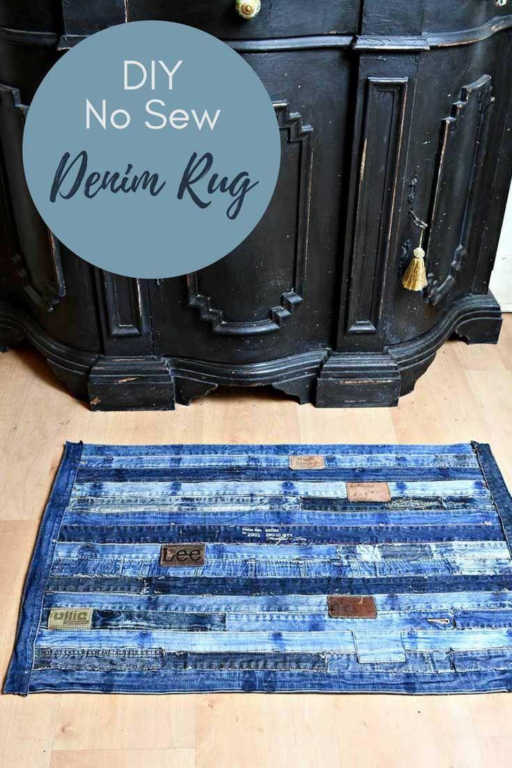 Unique denim rug made from repurposed jeans