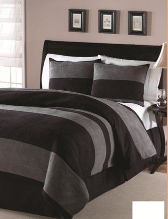 Amazon.com: 4PC Black microsuede down alternative comforter set Queen size 86x86: Home & Kitchen