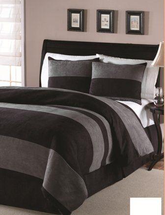 Amazon.com: 4PC Black microsuede down alternative comforter set Queen size 86x86: Home & Kitchen