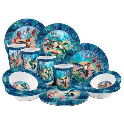 Hummingbird Melamine 12 Piece Dinnerware Set, Service for 4