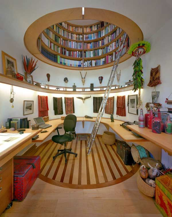 If only! I love this office nook. And check out the awesome indigenous Amazonian textiles and featherwork. Wow!