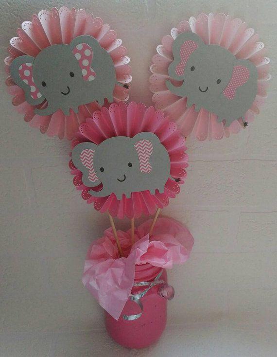 3 piezas elefante central. Elefante bebé ducha. por DreemCrafts