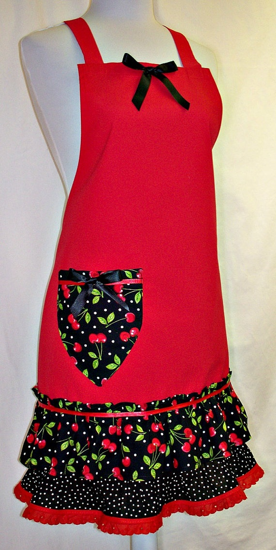 Apron RED & BLACK Life Is Just a Bowl of Cherries by ClassyCookAprons, $38.50