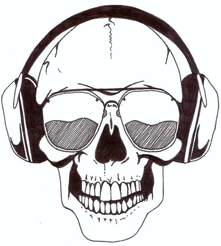 Skull With Headphones Charlotte Jane Rumsey Art