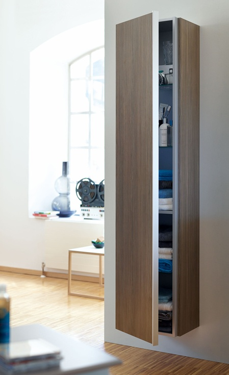 The tall cabinet offers plenty of practical storage space.