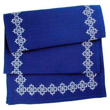Blue Mosaic Tile Embroidered Table Runner - Design Imports