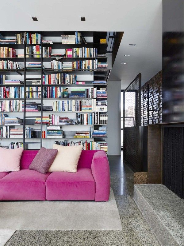 That. Sofa.Libraries, Decor, Bookshelves, Pink Couch, Pink Sofas, Interiors Design, Bookcas, Hot Pink, House