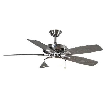 Indoor/Outdoor Brushed Nickel Ceiling Fan With Light Kit